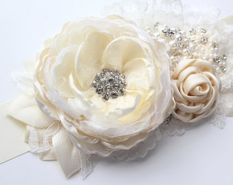 "Bridal Ivory Sash ""Jamie""/ Flower Wedding Ribbon Sash/ Handmade Accessory"