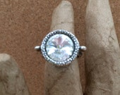 April BIRTHSTONE Ring - CRYSTAL Swarovski Crystal Rivoli - Clear Crystal - Antique Silver- Pewter Ring - January - Adjustable - USA Made