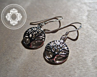 Tree of Life Sterling Silver Earrings, Small Family Tree Earrings - Tree of Life Charm or Pendant Earrings