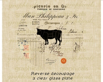 Reverse glass decoupage instant graphic French ephemera cow digital download image for Iron on transfer Burlap paper pillow Item No RD102