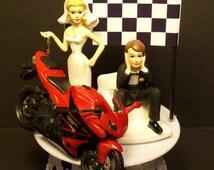 Motorcycle HONDA CBR Street Bike or your Bike Bride and Groom Funny Bike Wedding Cake Topper