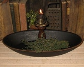 Primitive Wooden Loaf Dough BOWL-Cupboard BLACK-Country Cabin Decor-Trencher-Candle Centerpiece