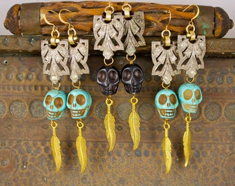 Vintage Deco Tribal Navajo Skull Rhinestone Feather Chandelier Rocker Boho Drop Earrings