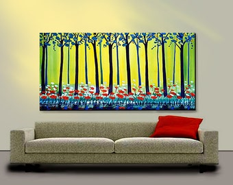 ORIGINAL PAINTING Abstract Modern Landscape Large 24x48 Red Poppies By Thomas John