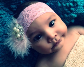 Baby Girl pink  Lace Headband with feathers ,big rhinestones.Baby lace Headbands