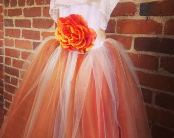 Burnt Orange Flower Girl Tutu Dress With Lace Collar Fall Weddings