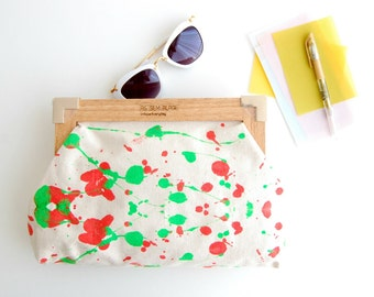 Hand painted clutch, fashion accessories, vegan purse