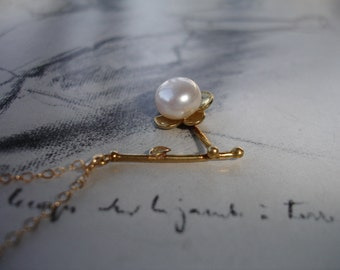 Cherry Blossom and Pearl Sakura Flower Branch Leaf Charm Necklace, Gold Fill, Classic, Elegant, Dainty, Bridal