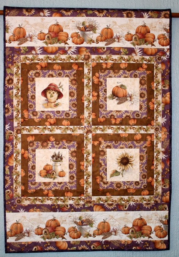 SALE: Fall Wall Hanging - Autumn Wall Quilt - Sunflowers Pumpkins Wall Hanging - Thanksgiving ...