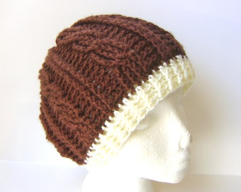 Womens Crochet Hat, Cable Beanie in Coffee and Cream, Brown Hat