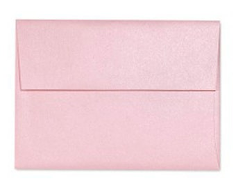 A6 Envelopes - Pearl Metallic (Mountain Rose Quartz) Pink with Square Flap FREE SHIPPING