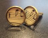 Music Cuff Links,  Vintage Music Accessory, Jewelry Accessory Groomsmen, Music Teacher Unique Gift