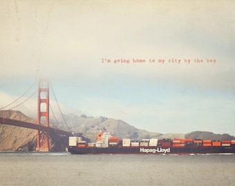 San Francisco Print, California Art, California Photo, Golden Gate Bridge, Golden Gate Photo, Home Art Decor, Photo Quote, Red Decor
