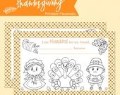 THANKSGIVING PRINTABLE PLACEMENTS, Thankful coloring page, November themed, Libby Lane Press