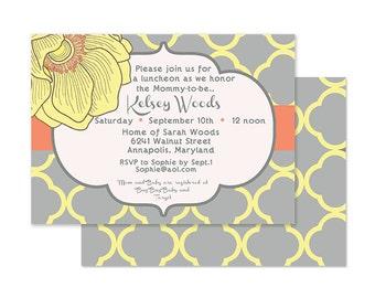 Modern Yellow & Gray Blossom Bridal or Baby Shower invite-Custom printable