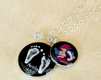 Baby Footprint Necklace - Your Baby's Actual Footprint - Mother's Necklace - Baby Footprints - Baby Feet - Angel Baby - Infant Loss