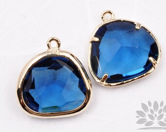 F119-02-G-BT// Gold Framed Blue Topez Glass Stone Pendant, 2Pcs