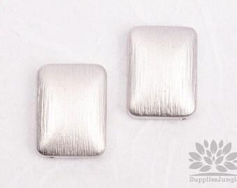 MB028-01-MR// Matt Original Rhodium Plated Brushed Rectangle Metal Bead, 2 pcs