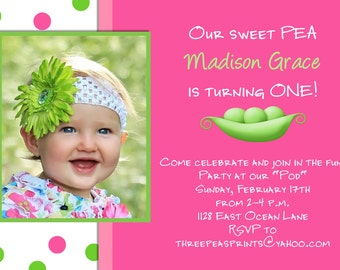 Sweet Pea Girl Birthday Invitation Hot Pink Lime Green Photo Card Design Printable Custom Invite
