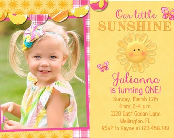 Pink and Yellow Sunshine Birthday Invitation You Are My Sushine Butterfly Printable and Custom Invite