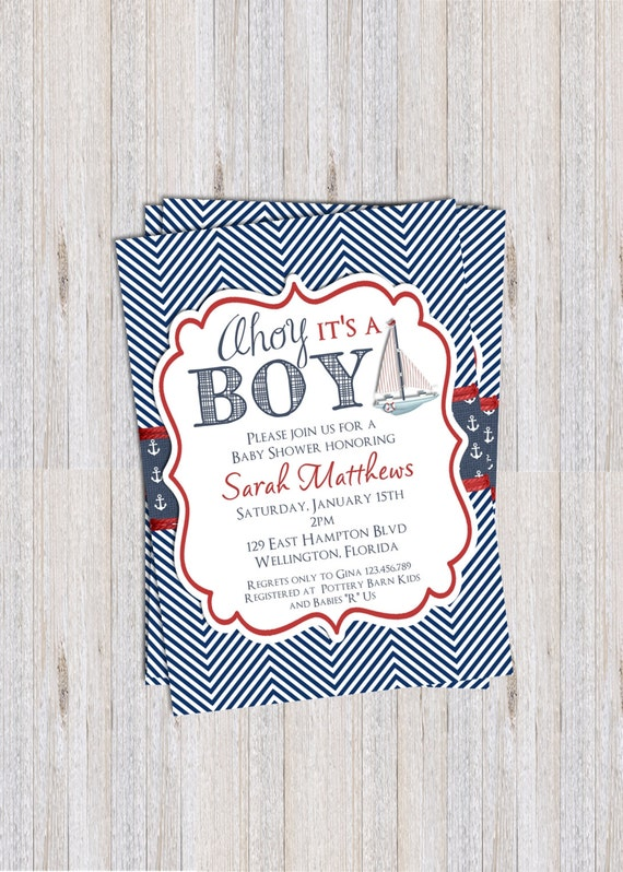 Chevron Ahoy It's A Boy Baby Shower Invitation Nautical Sailboat Birthday or Baptism Printable Custom Invite