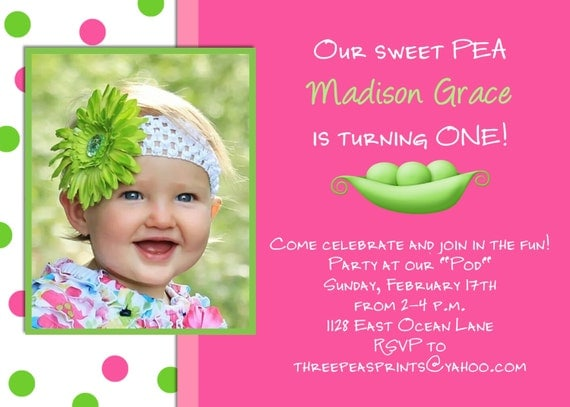 Sweet pea girl birthday invitation hot pink lime green photo like this item stopboris Image collections