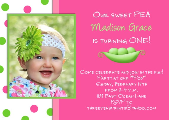 Sweet Pea Girl Birthday Invitation Hot Pink Lime Green Photo – Toddler Girl Birthday Invitations