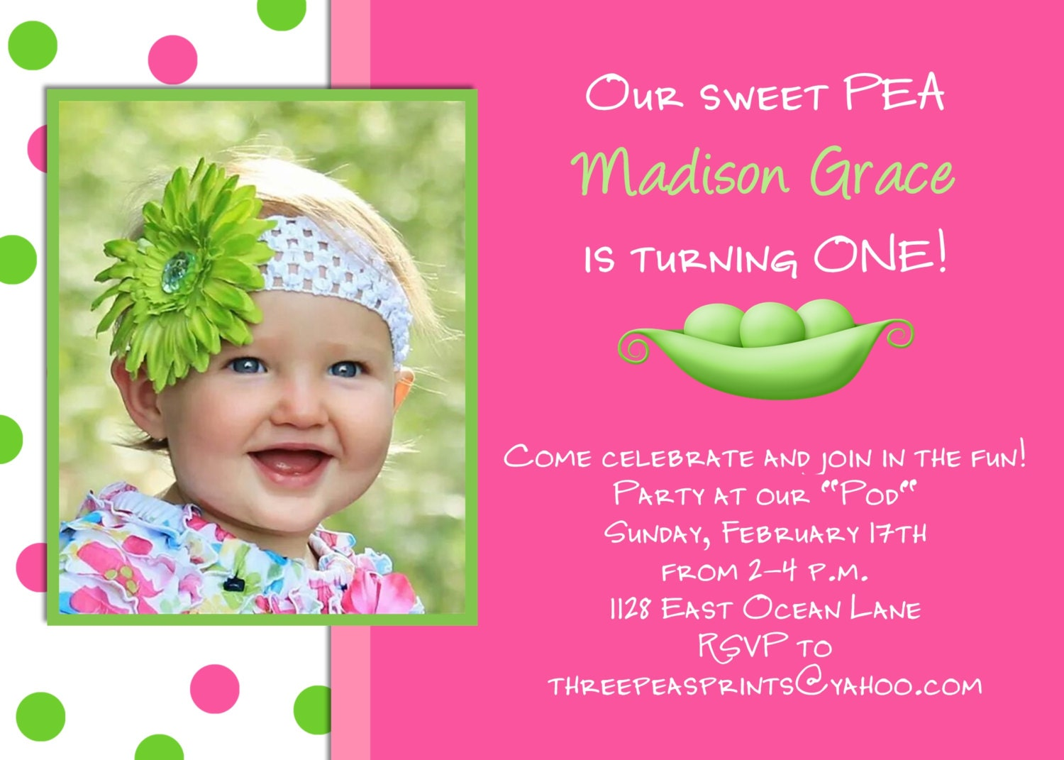Sweet Pea Girl Birthday Invitation Hot Pink Lime Green Photo