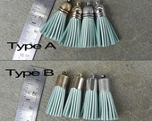 4 Placid Turquoise Leather mini TASSELs(Cowhide) in Type A or B tassel cap and Gold, Silver or Antique Brass Plated Cap