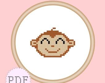 Kawaii Monkey Mini Cross Stitch Pattern PDF INSTANT DOWNLOAD