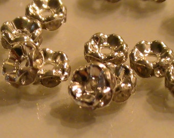 10pcs Silver Plated Rondelle Spacer Beads 6mm Clear Rhinestone Spacer Beads Commercial Jewelry Supplies Findings 97th Street Supply