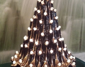 "21"", Ceramic Christmas tree, Table Top Tree, Real Gold accent, Color of Choice,Christmas decoration, light kit and blubs included, Glazed"