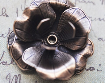 Riveted brass rose with three layers, brass ox