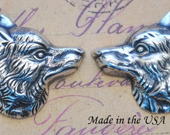 Brass Wolf Stampings, One Set, Sterling Silver Ox Finish- Calliopes Attic