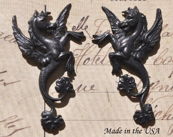 Pegasus Winged Horses, Brass, Black Satin Finish, Left and Right Brass Stampings