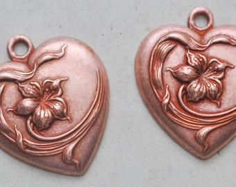 Two Neo Victorian heart charms with flower, Rose Ox