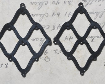TWO brass cage earrings components with ten holes, Black Satin Finish, Jewelry Making
