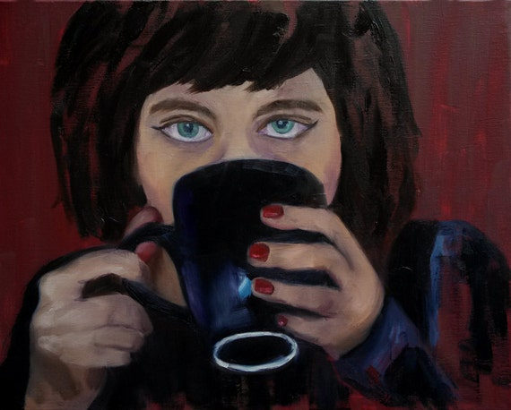 Studio clearance sale, art sale, Coffee, Girl with coffee mug, brunette drinking coffee, blue eyes, morning coffee, black mug, coffee time