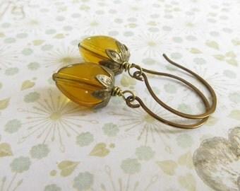 Acorn Earrings, Amber Acorn Earrings, Brass Earrings, Autumn Jewellery, Fall Jewelry, UK Seller, Acorn Jewellery