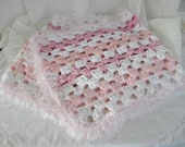 SALE  OOAK Crocheted Shawl Wrap in Various Shades of Pink and White, Pink October, ECS,
