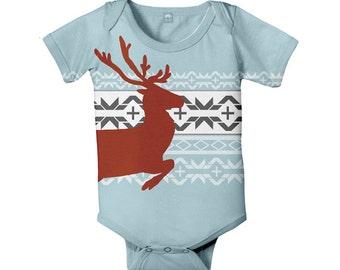 Nordic Baby Bodysuit, Reindeer Bodysuit, Boy or Girl Christmas One-piece, Holiday Clothing