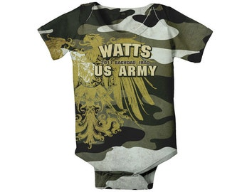 Military Baby Bodysuit - Personalized Camouflage Onepiece , Army, Navy, Marines or Air Force, Custom One Piece, Onepiece Boy's Clothing