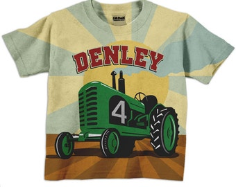 Green Tractor Shirt, Personalized Boys Farmer Birthday T-Shirt, Farm Tractor Number Shirt
