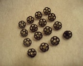 Vintage Small Black Floral Buttons With Jewel Center