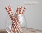 25 Short Cocktail Vintage Orange Floral Paper Straws - Free Editable DIY Flags - Short 5.75'' / 14cm