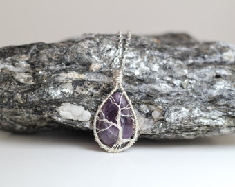 604A OOAK Silver Wire Wrapped Small Tree of Life Tree Sculpture on a amethyst purple tear drop Cabochon, fashion for Man, Women and Teen