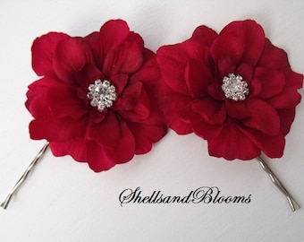 Wedding Bridal Hair Flowers - Dark Red - Rhinestone Center-  Alligator Clip or Bobby Pins - Raleigh - Set of 2