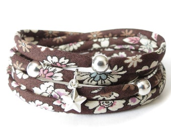 Fabric wrap bracelet in chocolate brown florals with sterling silver beads and charms, UK jewellery gift for best friend, ribbon jewellery