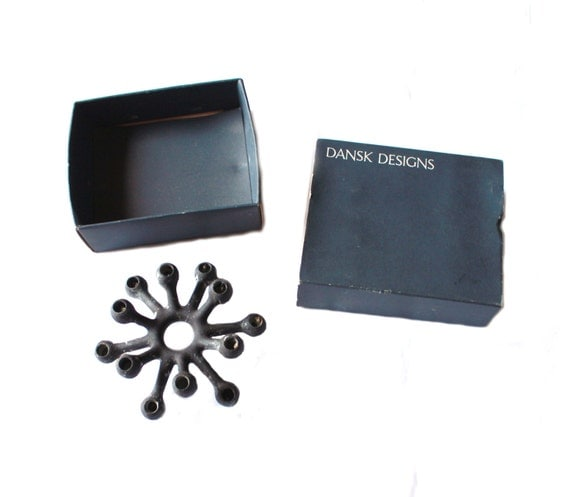 Black Dansk Danish modern candle holder, with original box, MCM design