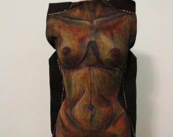 Original Avant Garde Black Knit Tunic // Hand drawn Anatomy, Rectangular extended side seam panels, Statement top, Provocative, Wearable Art